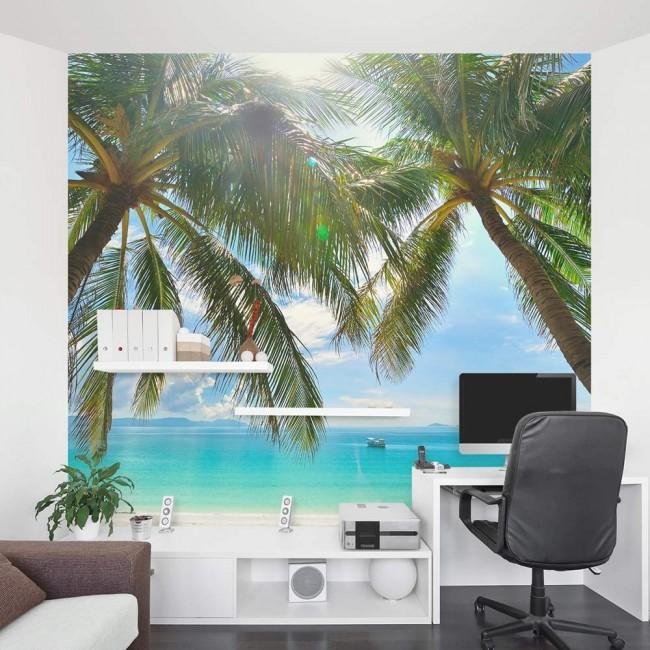 fototapet kontor tropisk fototapet utsikt hav palmer