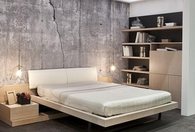 tapet betong med spricka sovrum fototapet ljusgrå