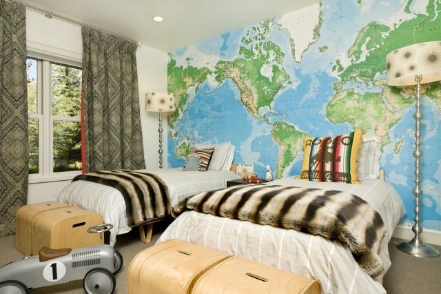 världskartat tapet barnrum barntapet kille fototapet