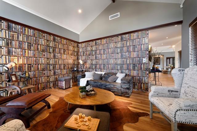 bokhylla tapet vardagsrum böcker fondtapet bokryggar