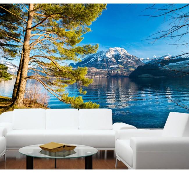 Naturtapet landskap sjö berg träd fototapet fondvägg
