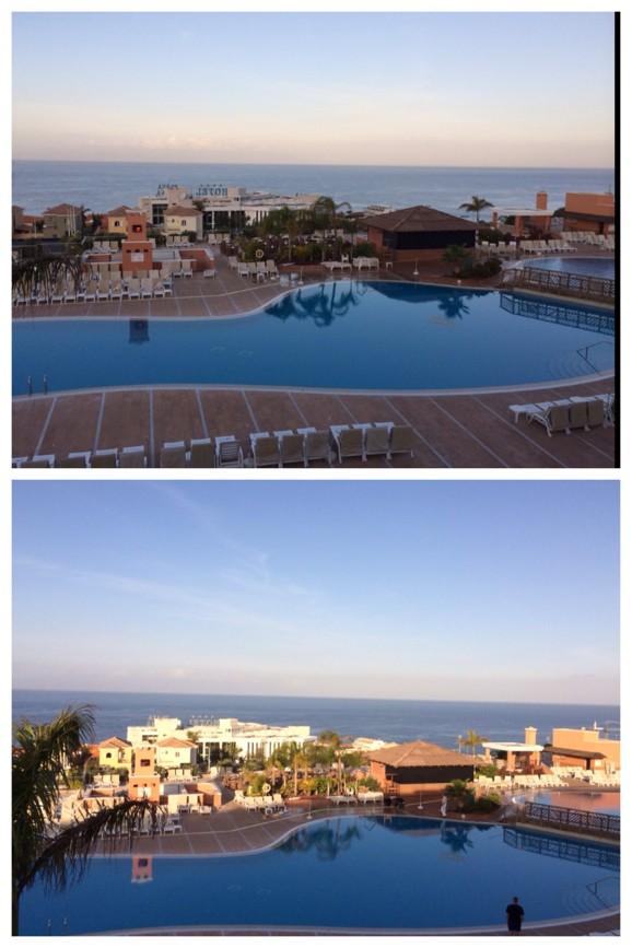Utsikt över Atlanten från vår balkong på Costa Los Gigantes Resort