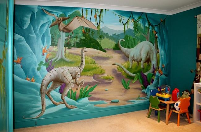 tapeter barnrum dinosaurier 3d fototapet barn
