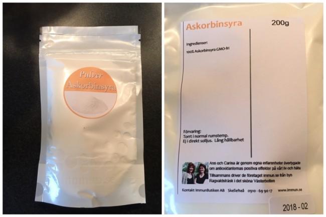 C-vitamin gmo-fri askorbinsyra från företaget immun