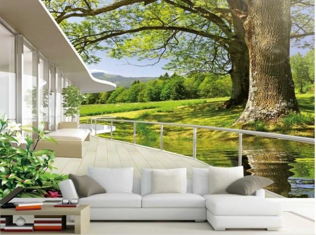 naturtapet träd fototapet balkong utsikt landskap 3d tapet fondvägg