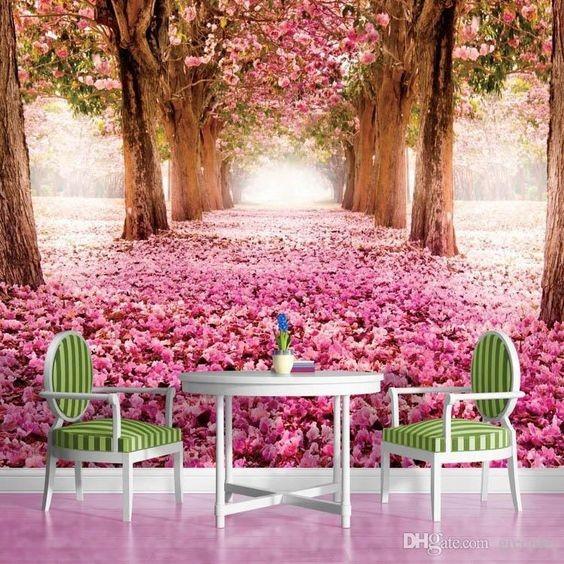 blommig tapet rosa rosor fototapet träd stammar fondtapet rosor på marken