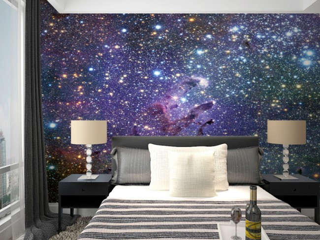 tapet sovrum stjätnor stjärnhimmel sovrumstapet