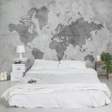 fototapet världskarta sovrum svartvit fondtapet