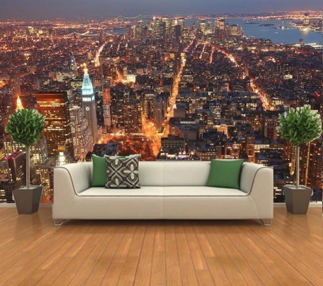 Fototapet New York tapet natt utsikt skyline