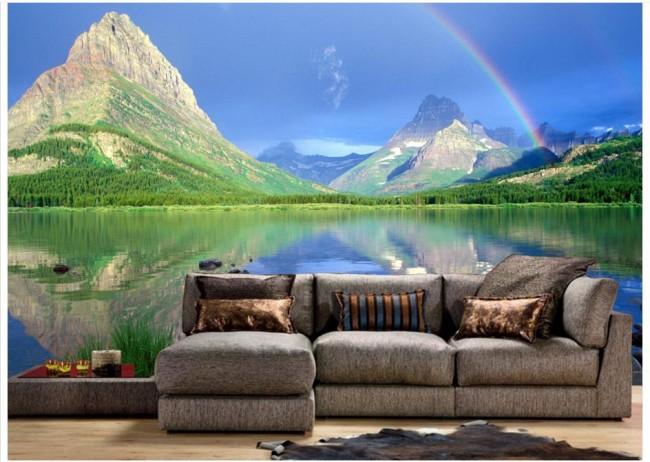 Landskap tapet sjö regnbåge berg fototapet