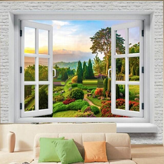 Naturtapet landskap fönster 3d fototapet