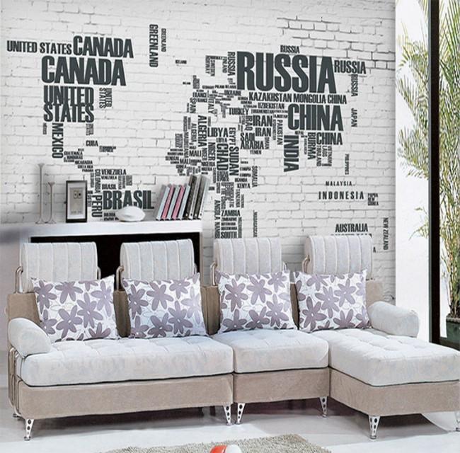 världskarta tapet bokstäver namn svart vit