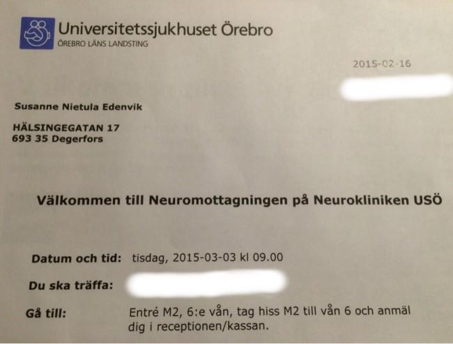 Kallelse till Neurologen USÖ Cervikal Spinal Stenos