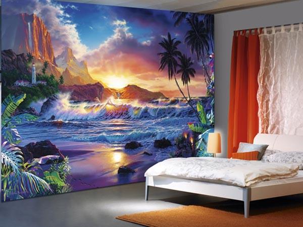 tapet strand hav fototapet tropisk solnedgång fondvägg
