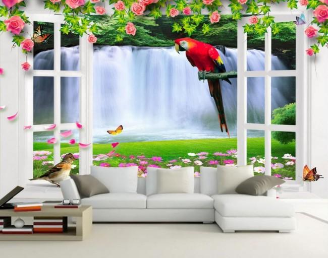djur tapet fågel fototapet papegoja fönster vattenfall