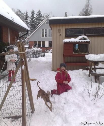 tre flickor i snön