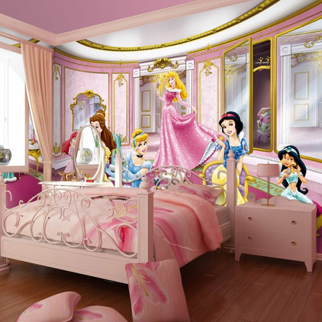 3d tapet tjejrum flickrum prinsessor rosa disney barnrum