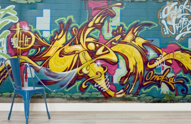 Graffiti tapet Graffiti Gul Ungdomstapet Häftig Tapet