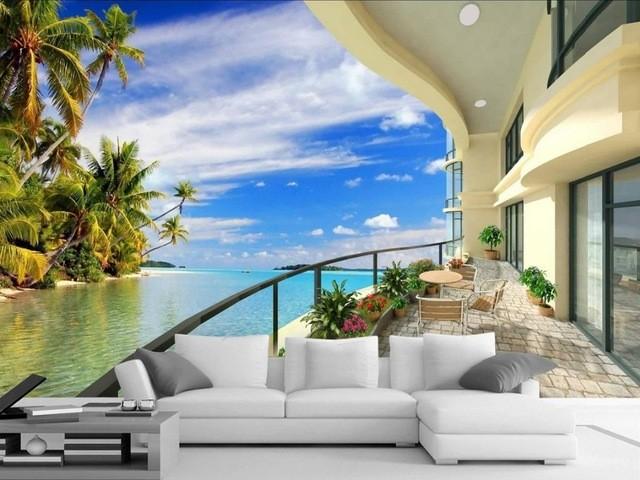 3d tapet havsutsikt balkong himmel tropisk fototapet
