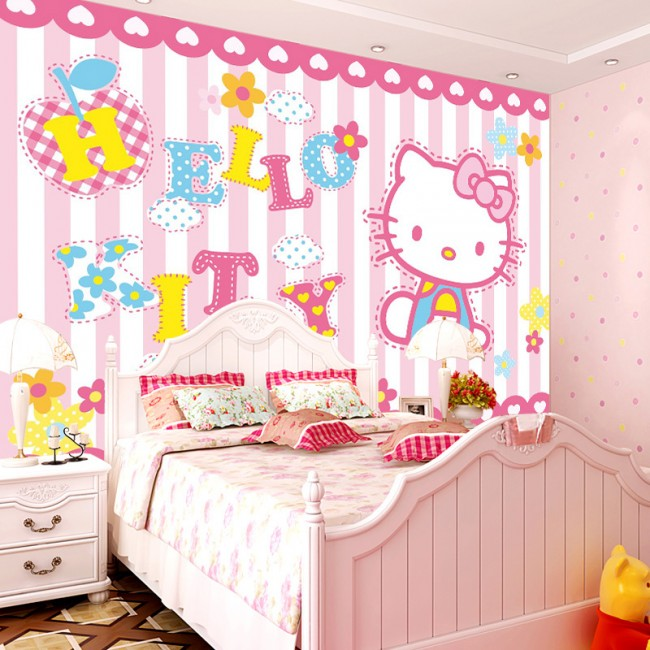 Fototapet barn tapet Hello Kitty rosa baby tapet tjejtapet flickrum tapet