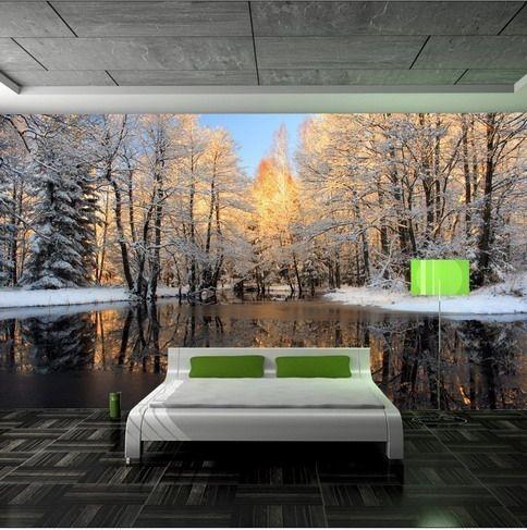billig tapet skog fototapet vinter landskap