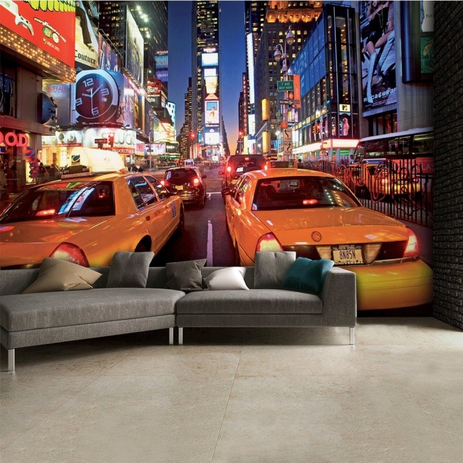 New York tapet Manhattan Taxi Cars Tapet Fototapet