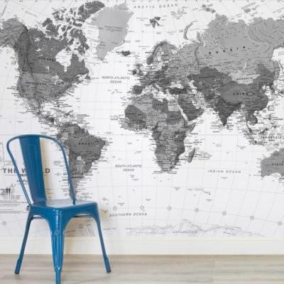 världskarta tapet svart vit fototapet barntapet fondvägg