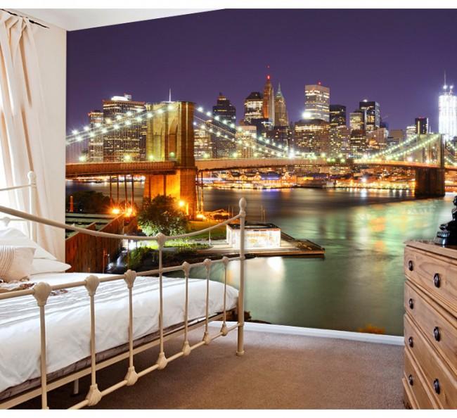 New York tapet Brooklyn Bridge natt Fototapet
