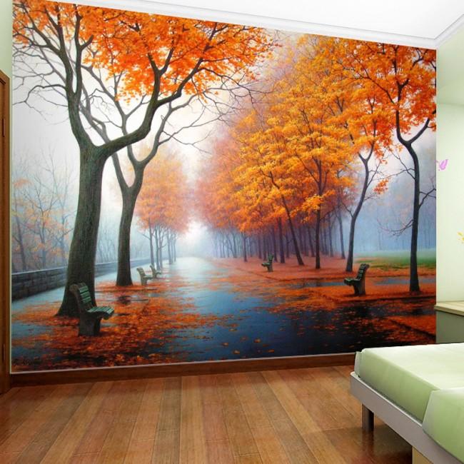 Naturtapet höst skog fototapet fondvägg träd