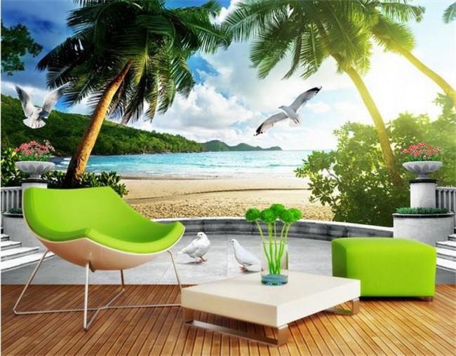 Landskap tapet tropisk palm fototapet hav strand fåglar
