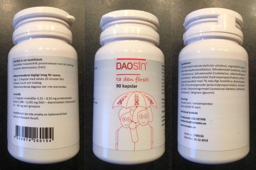 Daosin kan vara ett bra alternativ vid histaminintolerans