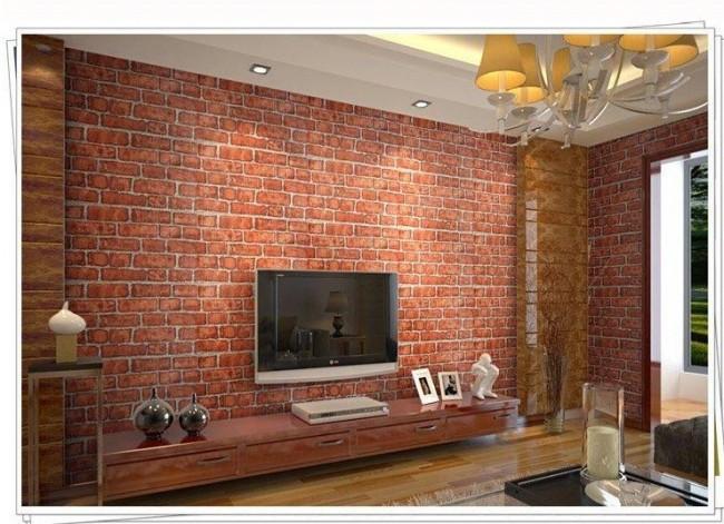 Tegeltapet vardagsrum fototapet tegelvägg tegelsten vägg