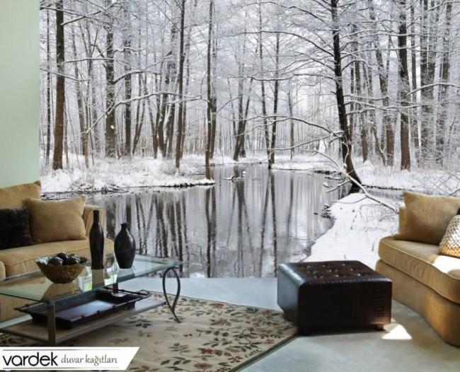 skogtapet vinter landskap snö trädstammar 3d fototapet