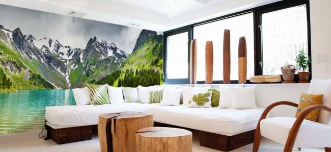 billig tapet landskap fototapet berg sjö fondvägg vardagsrum