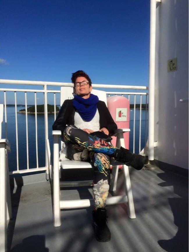 Jag på båten hem till Sverige
