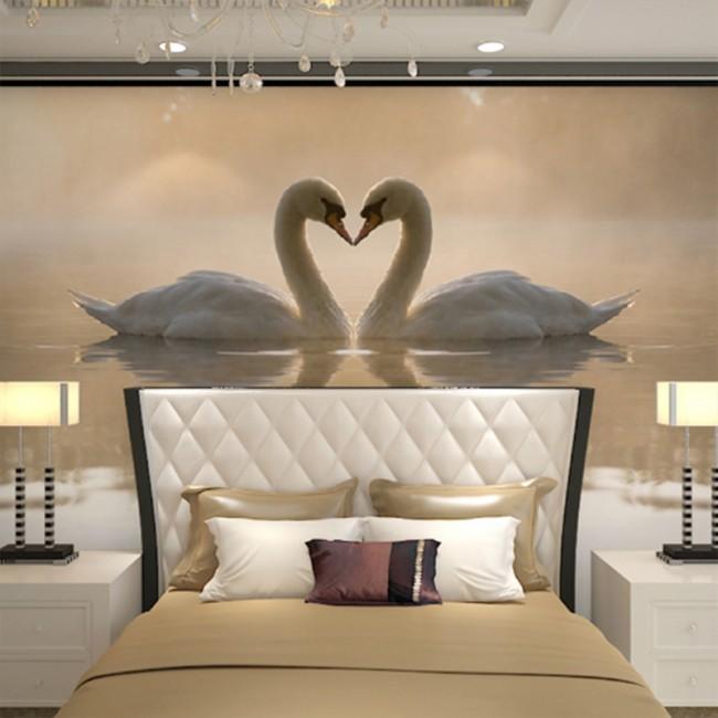 tapet sovrum inspiration romantisk tapet svanar sovrumstapet fototapet