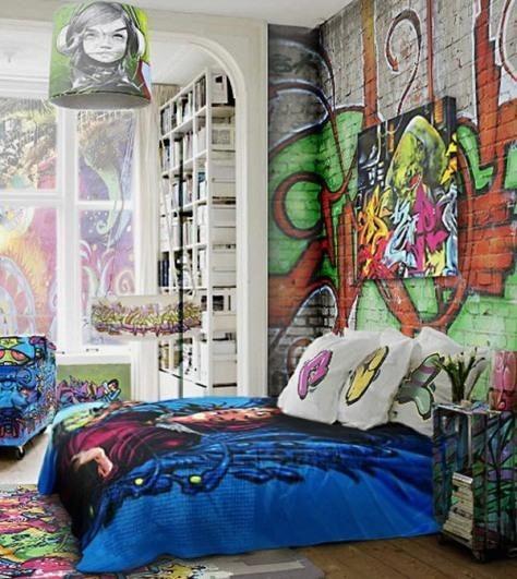 häftig graffiti tapet tjejrum ungdomsrum