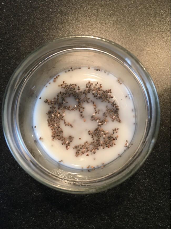 Gör egen chiapudding på raw mjölk av honungsmelonkärnor