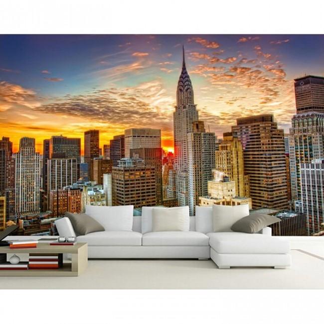 new york tapet fondvägg fototapet city solnedgång skyskrapor manhattan