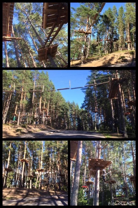 äventyrsbana uppe i träden vid Kalajoki, Finland