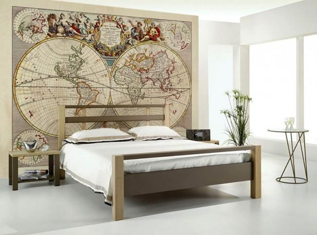 världskarta tapet vintage gammal karta fototapet sovrum