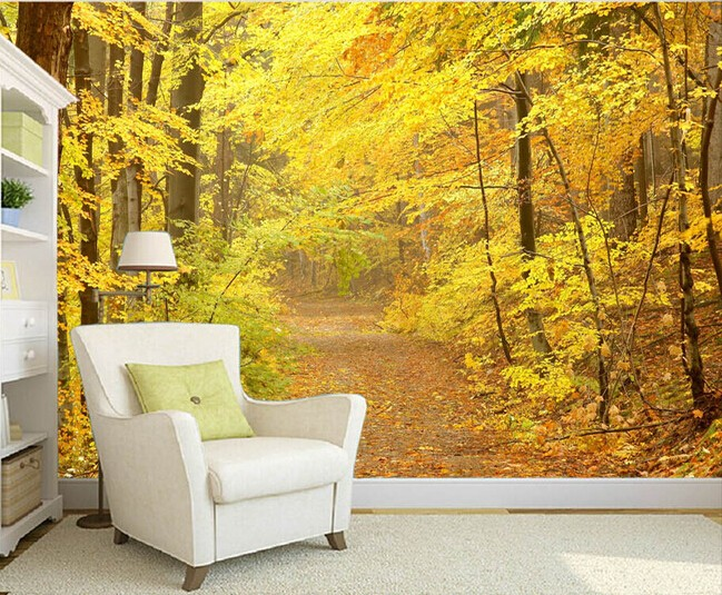 skogstapet höst träd natur fototapet 3d