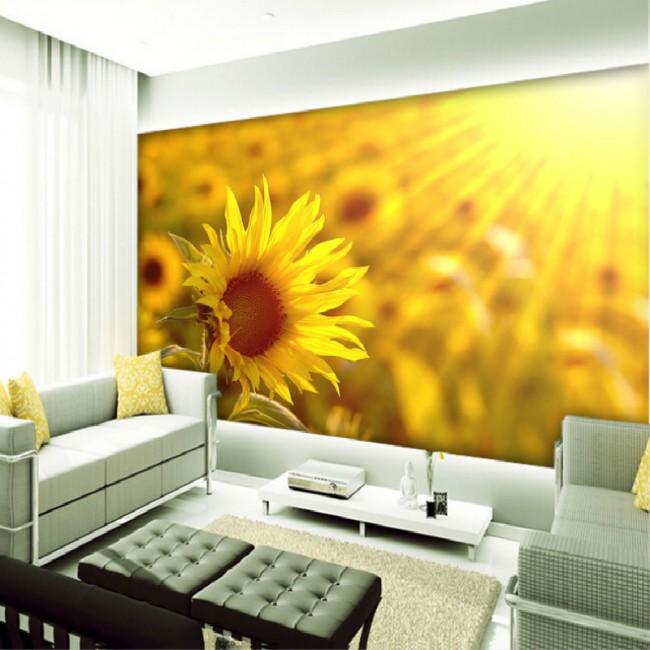 blommig tapet solros gul fototapet sol fondtapet vardagsrum