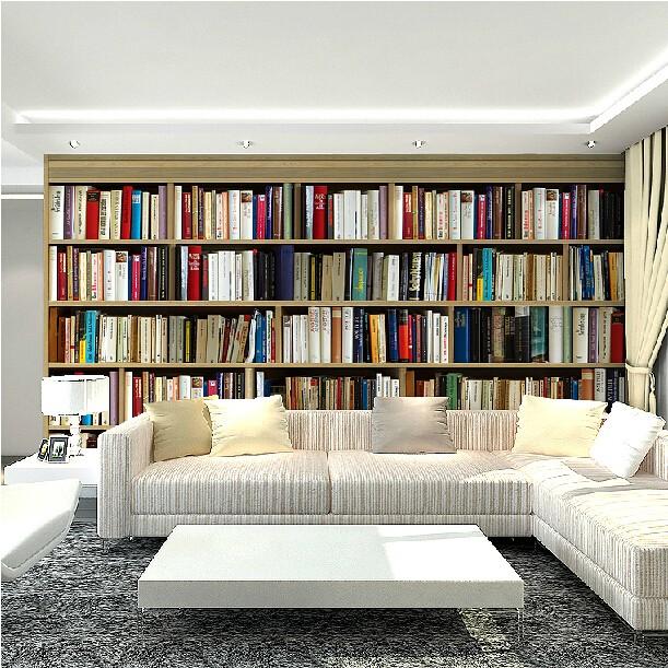 bokhylla tapet vardagsrum böcker fototapet med bokryggar