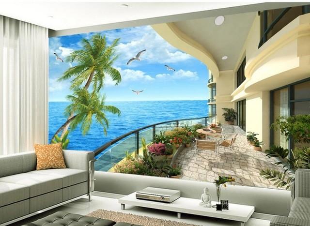 tapet vardagsrum tropisk tapet balkong utsikt 3d fototapet