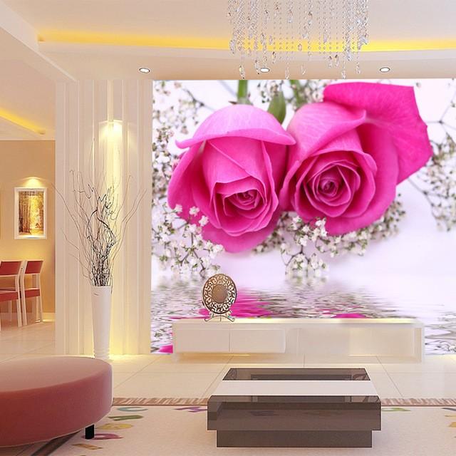 romantisk tapet rosor fototapet rosa blommor vardagsrum tapet