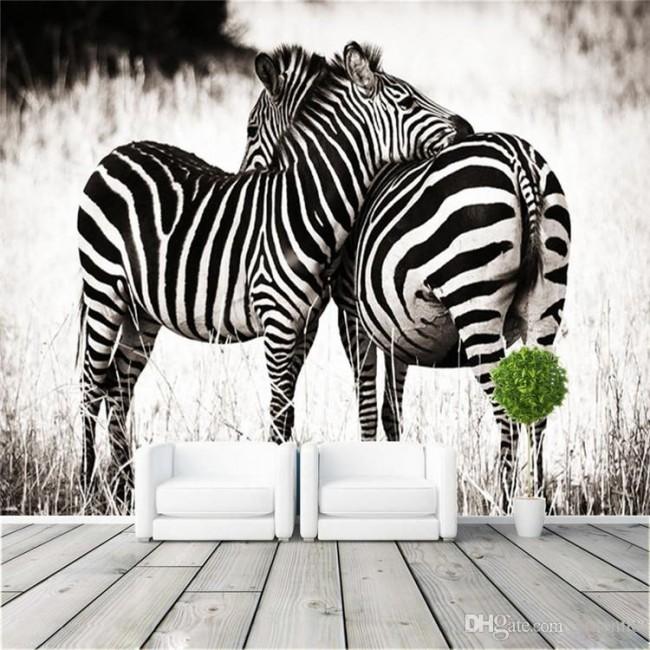 djur tapet zebra fototapet zebror svartvit tapet