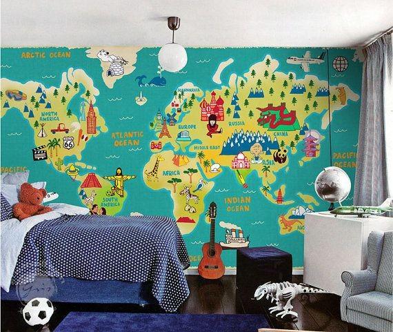 Världskarta Tapet barn fototapet barnrum karta barntapet
