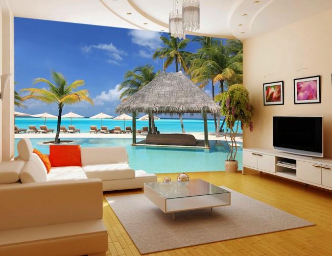 hav strand tapet tropisk fototapet palmer semester fondtapet vardagsrum