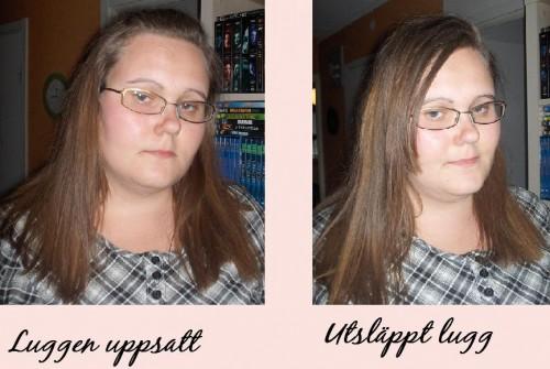 Håret på två olika sätt.